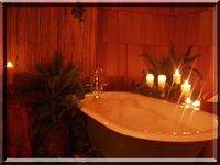 Enjoy a therapeutic bath in an antique claw foot tub at Stormking Spa. spa treatments mount rainier